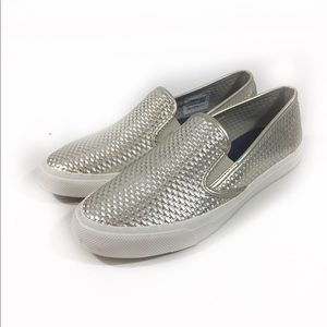 Sperry Topsiders Silver Slip On Shoes